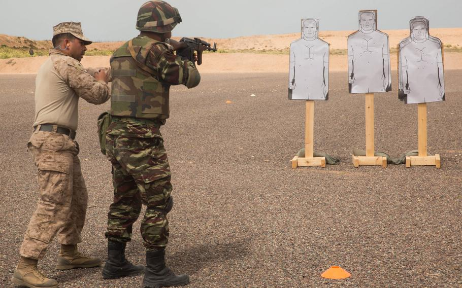 U.S. Marine Lance Cpl Bryan Verduzco, infantry team leader with Fleet Antiterrorism Security Team, conducts speed reload training during the African Lion exercise in Tifnit, Morocco, April 20, 2018.