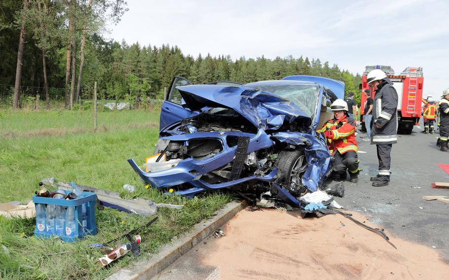 Two U.S. Army soldiers and two Germans were seriously injured in a car crash near Grafenwoehr, Germany, on Saturday, April 28, 2018.