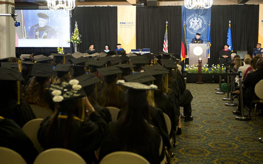 Javier Miyares, University of Maryland University College president, speaks to graduating students during the commencement ceremony at Ramstein Air Base, Germany, on Saturday, April 28, 2018.