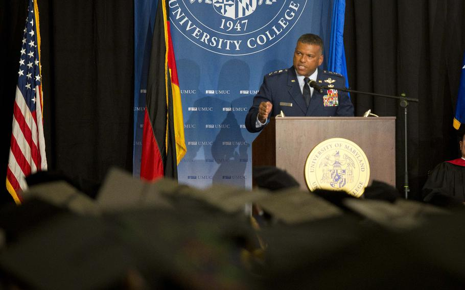 Lt. Gen. Richard Clark, 3rd Air Force commander, delivers the commencement address at Ramstein Air Base, Germany, on Saturday, April 28, 2018.