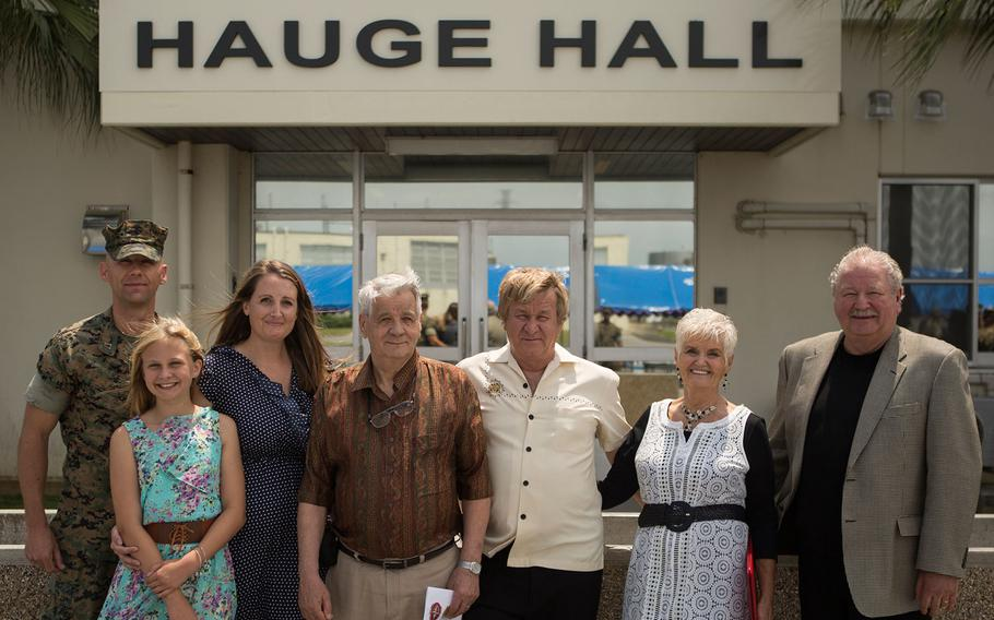 Combat Logistics Regiment 35, 3rd Marine Logistics Group rededicated its headquarters building in memory of Medal of Honor recipient Cpl. Louis Hauge during a ceremony attended by Hauge's family members at Camp Kinser, Okinawa, April 30, 2018.