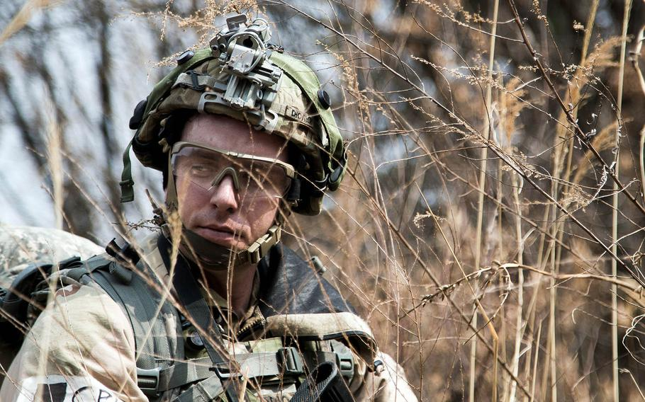 A soldier from the 1st Armored Brigade Combat Team, 1st Infantry Division trains last year at Rodriguez Live Fire Complex in Paju, South Korea.