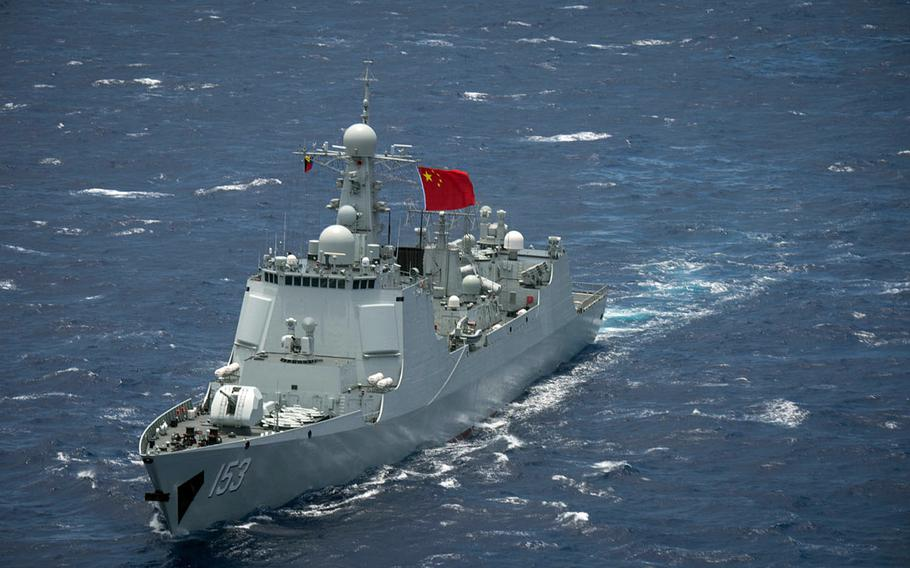 Chinese Navy guided-missile destroyer Xian steams in the Pacific Ocean during Rim of the Pacific 2016. China posted the world's largest increase in military spending in 2017,  according to a report by the Stockholm International Peace Research Institute released Wednesday.