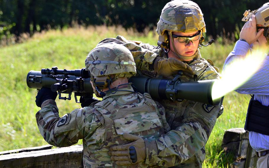Paratroopers assigned to 173rd Airborne Brigade fire an M3 Carl Gustaf rocket launcher at the 7th Army Training Command's Grafenwoehr Training Area, Germany, Aug. 18, 2016.