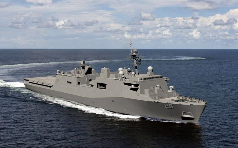 This rendering shows the USS Richard M. McCool, which will honor Medal of Honor recipient Capt. Richard M. McCool Jr.