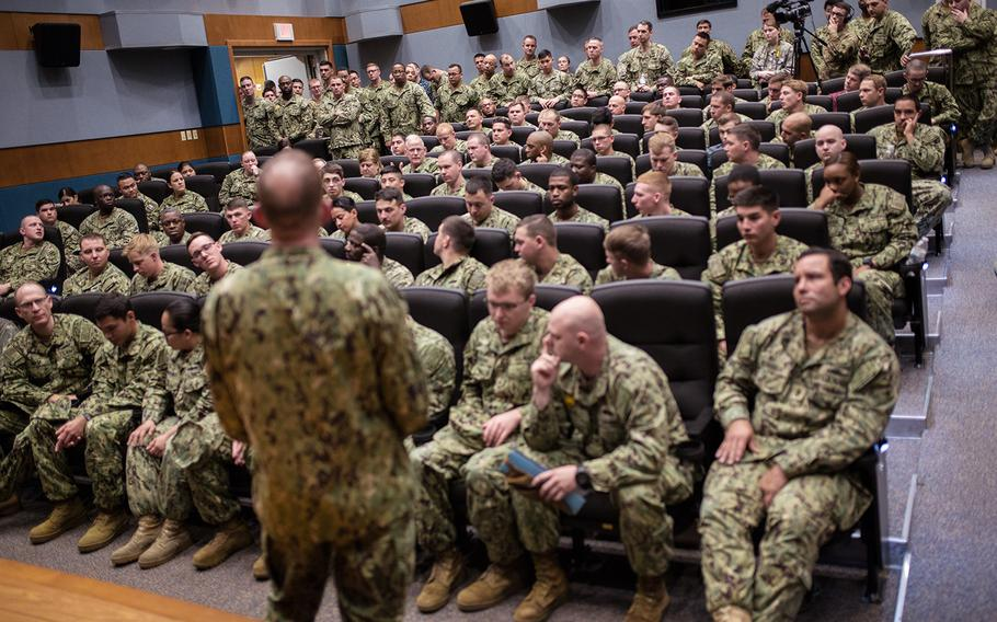 Master Chief Petty Officer of the Navy Steven Giordano speaks to a crowd of sailors at Chinhae Naval Base, South Korea, Friday, April 27, 2018.