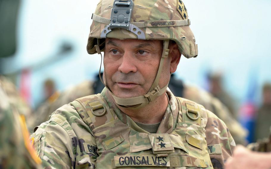 Maj. Gen. Ryan Gonsalves talks to fellow officers after a live-fire demonstration at the Saber Guardian exercise near Cincu, Romania, July 15, 2017. Gonsalves'  May 1 retirement from the Army comes six months after an Inspector General's probe determined the commander violated an Army policy that requires treating others with ''dignity and respect.''