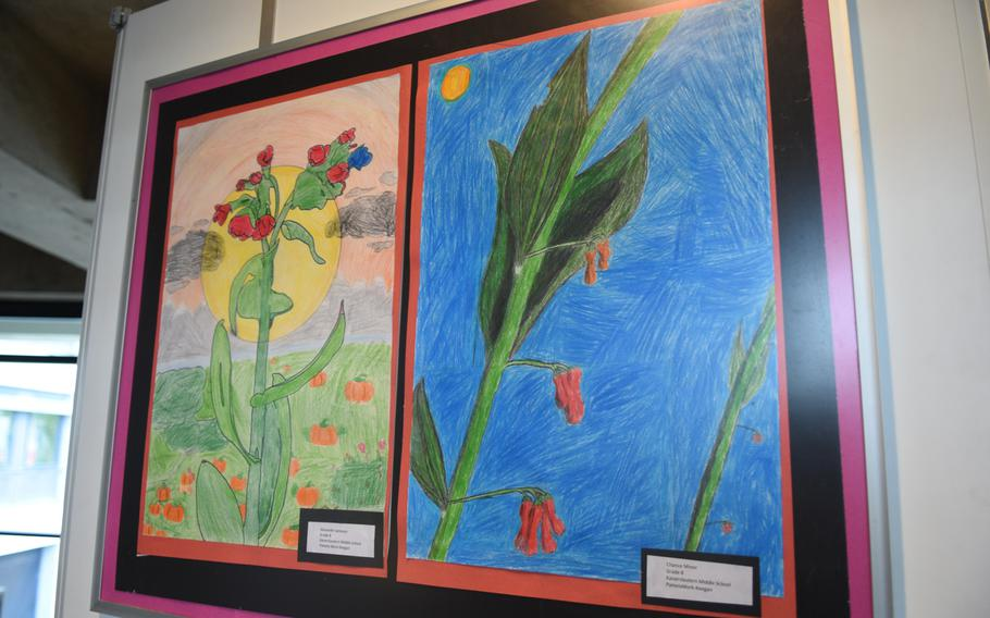 Flowers done in color pencil by students at Kaiserslautern Middle School are among the works of art on display at the DODEA art exhibit through the end of May at Kaiserslautern city hall in Germany.