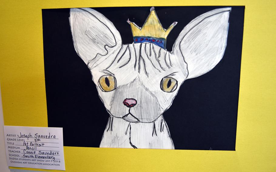 A pet portrait done in pencil is among the works of art by DODEA students currently on display through the end of May at Kaiserslautern city hall in Germany.