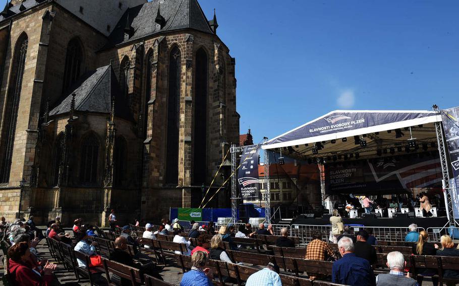 An American-style big band plays next to the cathedral in Pilsen, Czech Republic, Friday, May 4, 2018.
