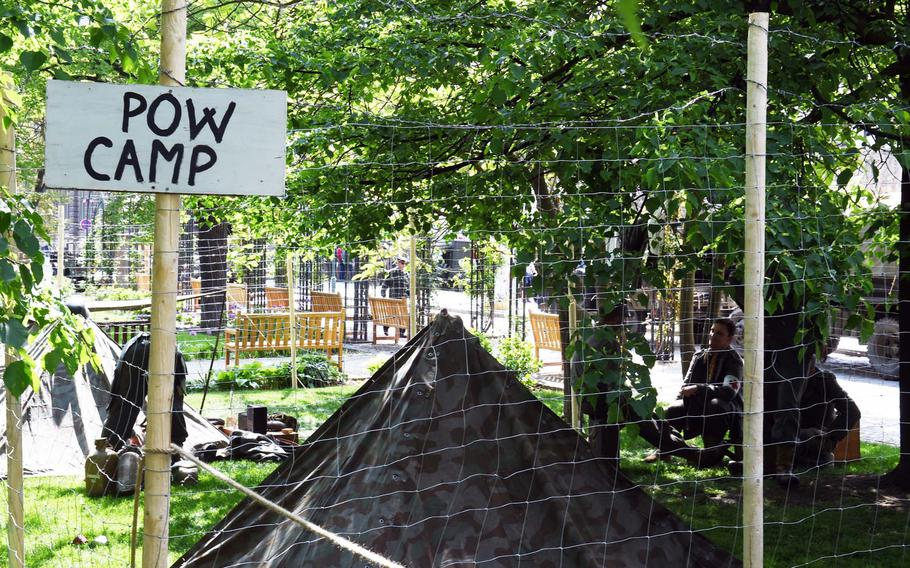 A reconstructed prisoner-of-war camp during the liberation festival in Pilsen, Czech Republic, Friday, May 4, 2018.