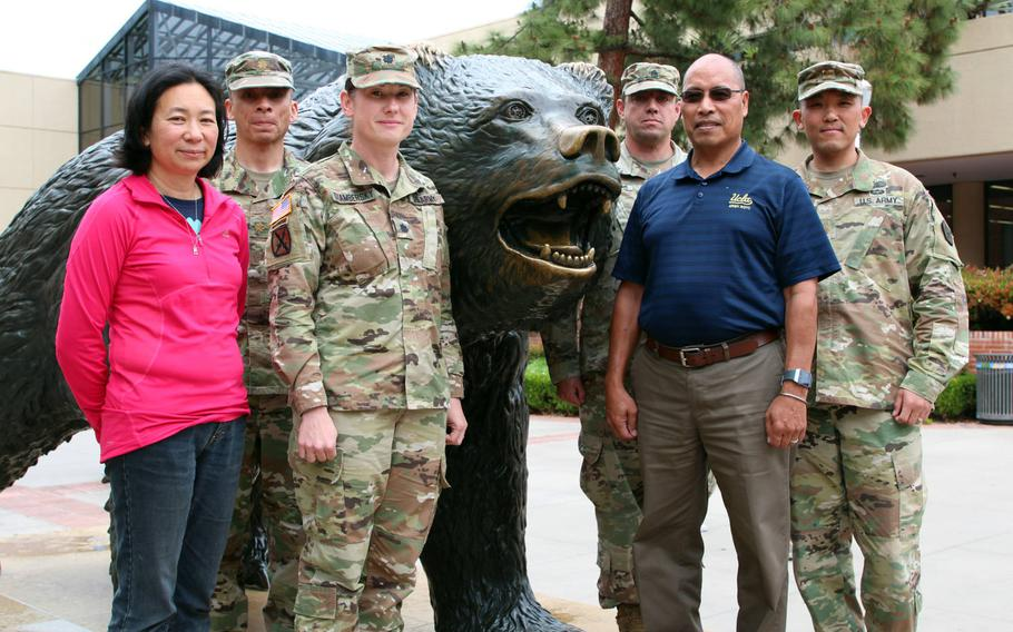 Six UCLA Army ROTC staff members helped to rescue motorists trapped in a fiery crash on the I-405 Freeway near campus. From left: Victoria Sanelli, manager of UCLA Army ROTC, Maj. Tyrone Vargas, UCLA assistant adjunct professor, Lt. Col. Shannon Stambersky, UCLA professor of military science, Sgt.1st Class Rhu Maggio, military instructor, Romeo Miguel, recruiting operations officer and Maj. Steve Kwon.