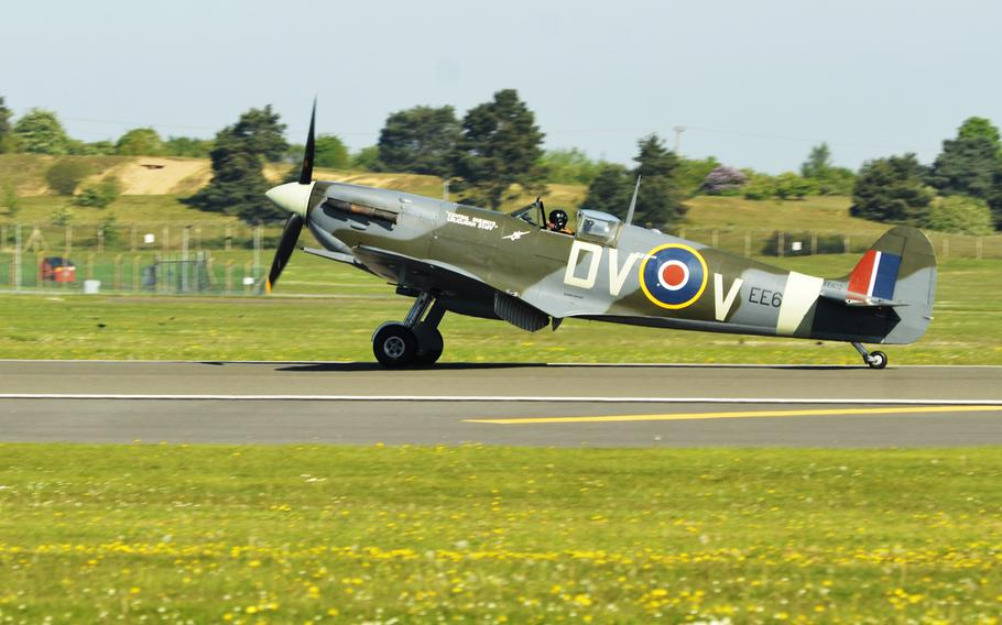 A Supermarine Spitfire from the Imperial War Museum Duxford lands onto RAF Lakenheath, England, for a wing heritage fundraising event hosted by the 492nd Fighter Squadron, Monday, May 7, 2018. Airmen and families were invited to take a close look at the historical aircraft and pose for photos for an optional donation to the Air Force Assistance Fund.