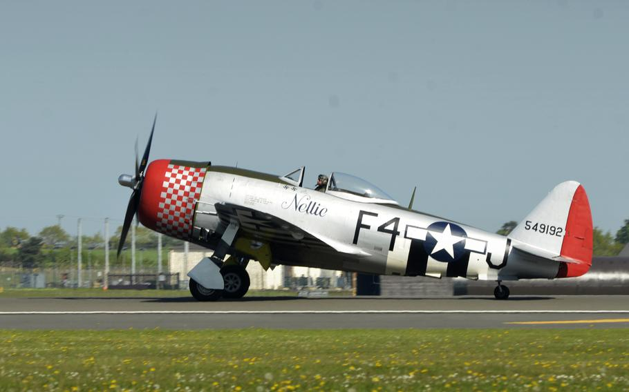 A Republic P-47 Thunderbolt from the Imperial War Museum Duxford lands at RAF Lakenheath, England, for a wing heritage fundraising event hosted by the 492nd Fighter Squadron, Monday, May 7, 2018. The P-47 is painted in the 492nd's historical paint scheme from World War II.