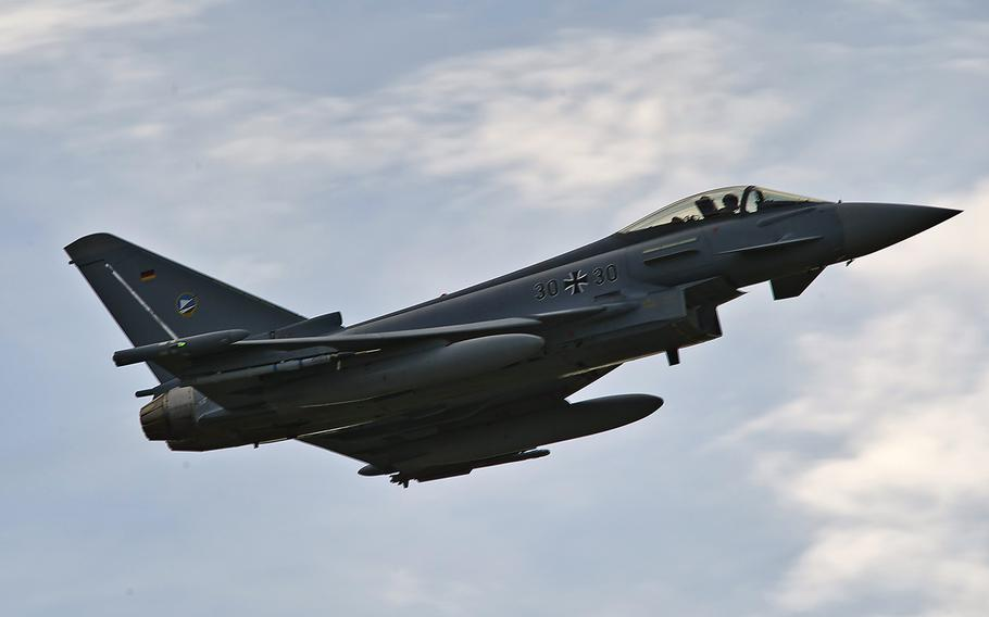 A German Air Force Eurofighter Typhoon takes off from Eielson AFB, Alaska, for a combat training mission in 2012. At the moment only four of Germany's 128 Eurofighters are combat-ready.