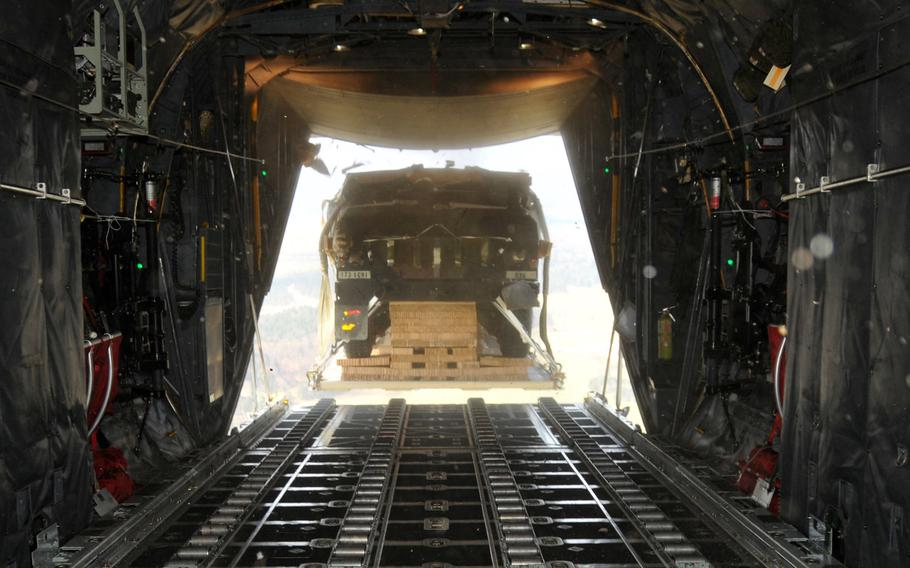 A Humvee is air dropped out of a C-130 Hercules over Hohenfels Training Area, Germany, April 11, 2016. A sergeant with the 173rd Airborne Brigade has been found guilty in connection with the destruction of three Humvees that plummeted to the ground that day.
