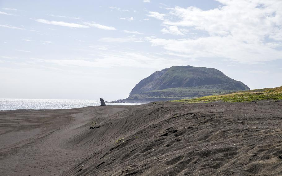 Mount Suribachi is seen on the island of Iwo Jima, Japan, Feb. 15, 2018.