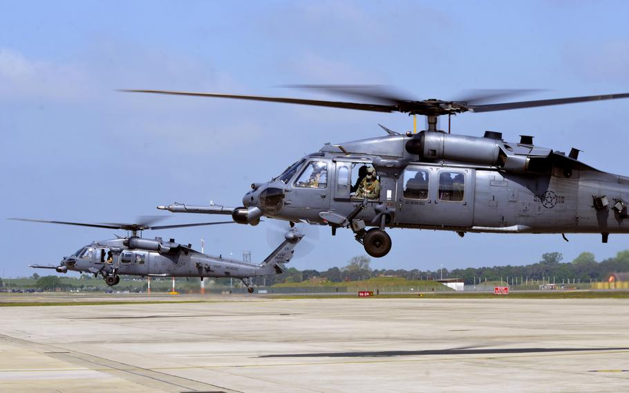 Two HH-60G Pave Hawk helicopters from the 56th Rescue Squadron lifts off from RAF Lakenheath, England, for a flight to Aviano Air Base, Italy, Tuesday, May 15, 2018. The 56th and 57th Rescue Squadrons have relocated 350 airmen, 200 military families and five helicopters to their new duty station in Italy.