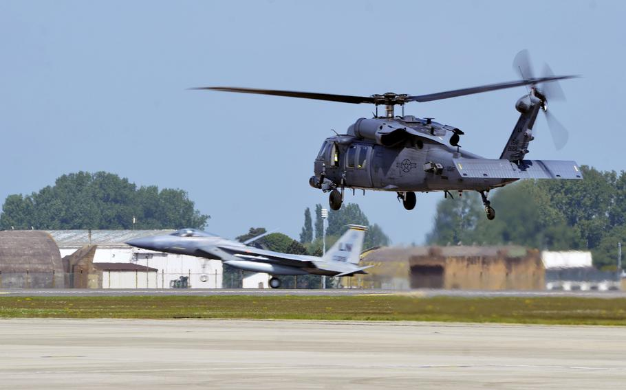 An HH-60G Pave Hawk helicopter from the 56th Rescue Squadron lifts off from RAF Lakenheath, England, for a flight to Aviano Air Base, Italy, Tuesday, May 15, 2018. The 56th and 57th Rescue Squadrons have relocated 350 airmen, 200 military families and five helicopters to their new duty station in Italy.