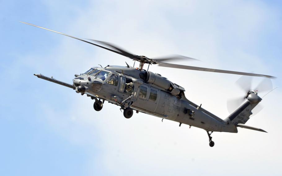 An HH-60G Pave Hawk helicopter from the 56th Rescue Squadron leaves RAF Lakenheath, England, for Aviano Air Base, Italy, Tuesday, May 15, 2018. The 56th and 57th Rescue Squadrons have relocated 350 airmen, 200 military families and five helicopters to their new duty station in Italy.