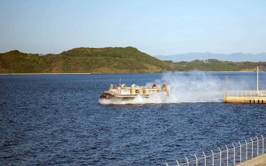 A hovercraft from Naval Beach Unit 7 launches from a port near Sasebo Naval Base, Japan, May 10, 2018.