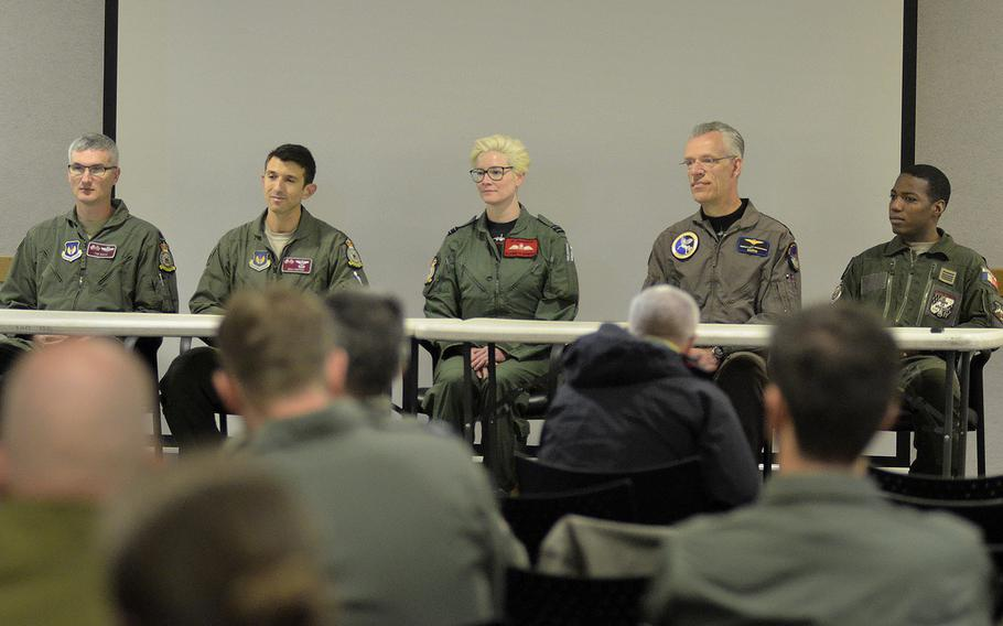 A panel of airmen from the 100th Air Refueling Wing and NATO partners answers questions regarding the 2018 European Tanker Symposium at RAF Mildenhall, England, Thursday, May 17, 2018. An annual event where NATO allies and partner nations with an interest in air refueling capabilities gather to discuss tanker formation flights.