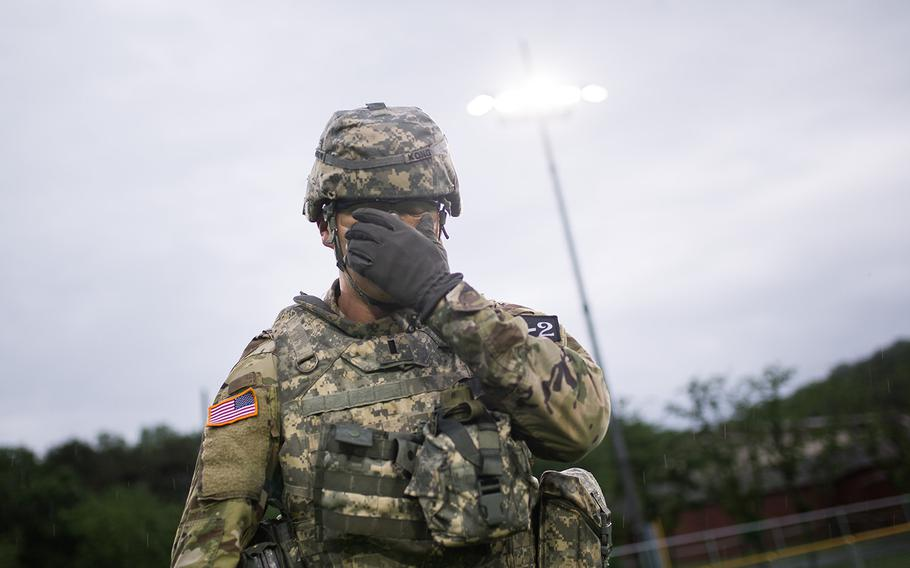 First Lt. Austin Kong of the 19th Expeditionary Sustainment Command takes part in Eighth Army's Best Warrior competition at Camp Casey, South Korea, Thursday, May 17, 2018.