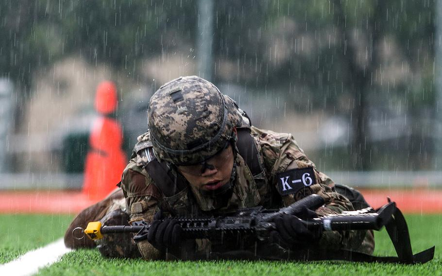 South Korean Cpl. Choi Ji Heon of the 65th Medical Brigade takes part in Eighth Army's Best Warrior competition at Camp Casey, South Korea, Thursday, May 17, 2018.