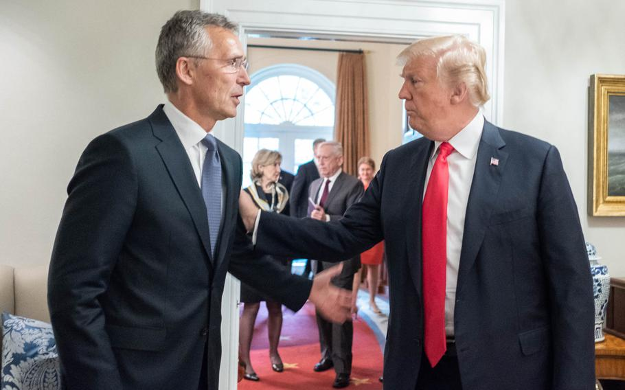 NATO Secretary-General Jens Stoltenberg and President Donald Trump at the White House, Thursday, May 17, 2018. In the background are Kay Bailey Hutchison, the U.S. Permanent Representative to NATO and Defense Secretary Jim Mattis.