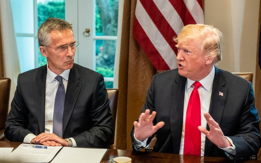 NATO Secretary-General Jens Stoltenberg and President Donald Trump at the White House, Thursday, May 17, 2018.