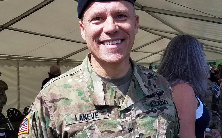 Brig. Gen. Christopher LaNeve after taking command of the 7th Army Training Command at Grafenwoehr, Germany, Friday, May 18, 2018.