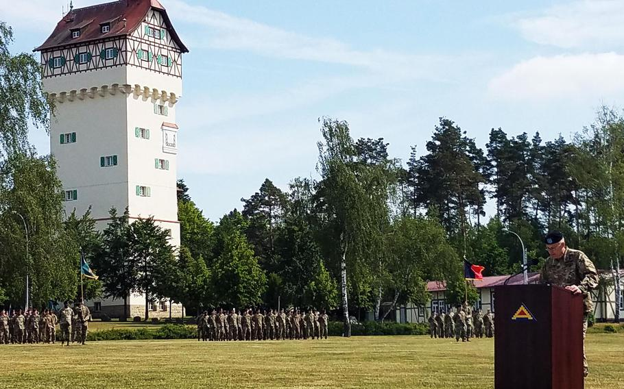 Brig. Gen. Christopher LaNeve addresses his new soldiers at the 7th Army Training Command at Grafenwoehr, Germany, Friday, May 18, 2018.