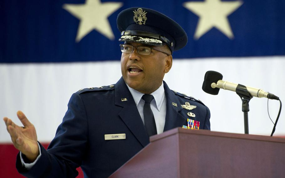 Lt. Gen. Richard Clark, 3rd Air Force commander, speaks during his change-of-command ceremony at Ramstein Air Base, Germany, in October 2016. Clark is leaving Ramstein after being nominated for assignment as deputy chief of staff, strategic deterrence and nuclear integration