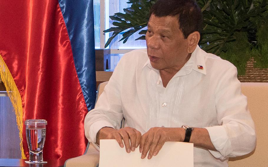 Philippines President Rodrigo Duterte attends an Association of Southeast Asian Nations, or ASEAN, meeting in the Philippines, Oct. 24, 2017.