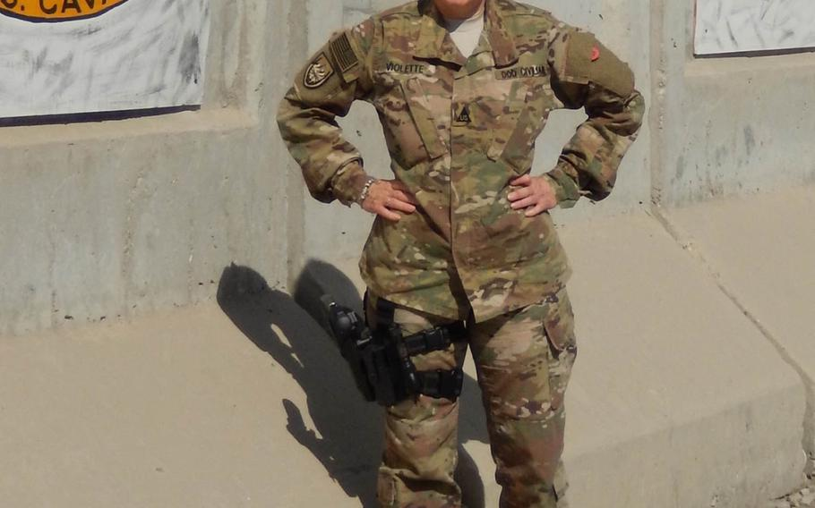 Chanteen Violette, an Army civilian logistician based in Vicenza, Italy, poses for a photo during her 2016 deployment to Afghanistan. A previous 13-month deployment there retroactively rendered her ineligible to receive a housing allowance.