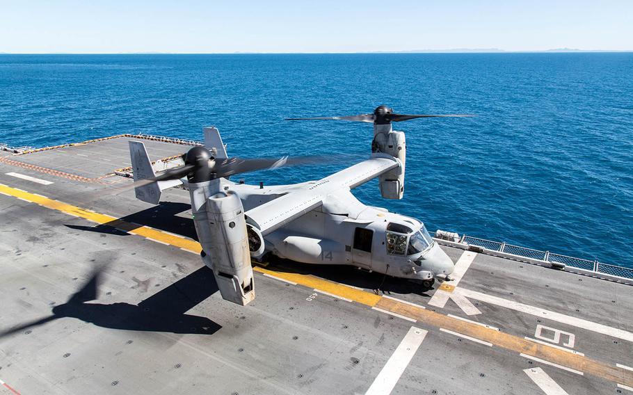 An MV-22B Osprey prepares to take off from the USS Bonhomme Richard near the eastern coast of Queensland, Australia, July 20, 2017.