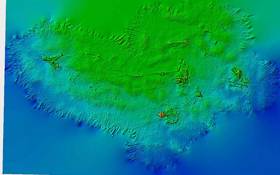 A Digital Elevation Model derived from GPS and model data of a Republic P-47D Thunderbolt crash site in Weymouth Bay, England, Thursday, May 24, 2018. The colors show depth with blue with orange being shallower and bumps reveal overall shape of the seabed.