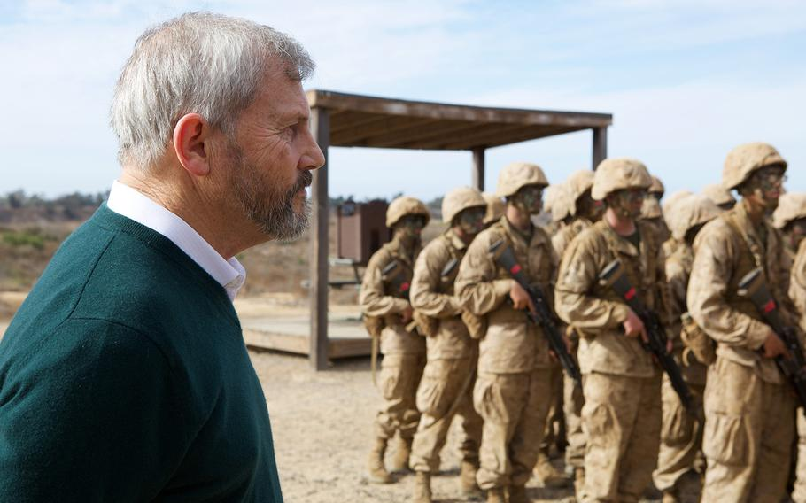 Vietnam veteran, Navy Cross recipient and best-selling author Karl Marlantes, a former Marine, watches Marines train at Oceanside, Calif., in 2017.
