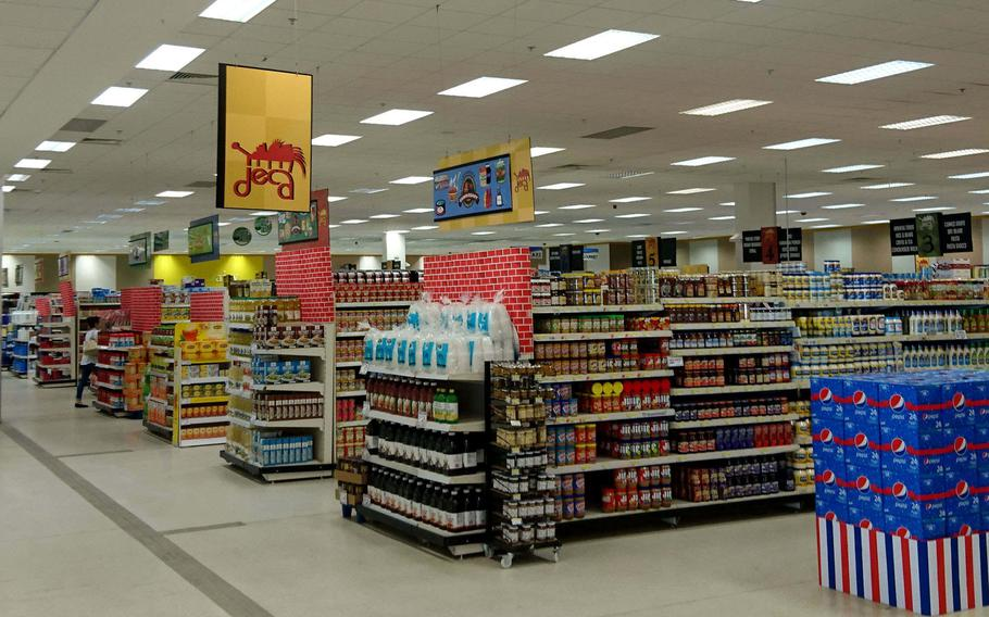 Products line the aisles at the American military commissary at RAF Lakenheath, England, on Monday, May 21, 2018.
