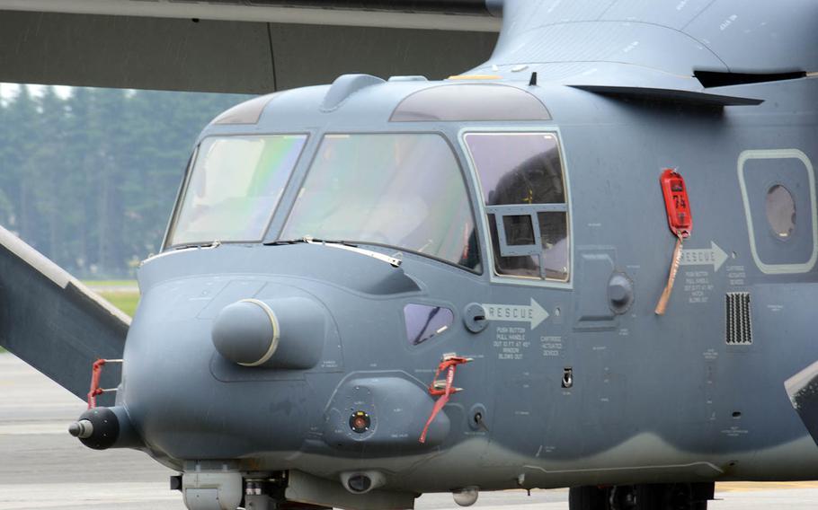 An Air Force CV-22 Osprey sits at Yokota Air Base, Japan, Wednesday, May 30, 2018.