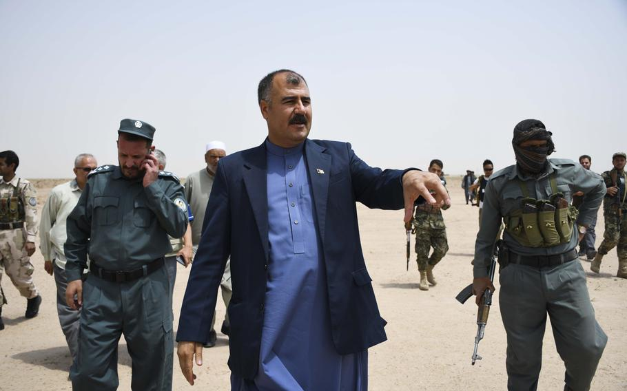Shiroqa Sarwari, district governor of Guzara in Herat province, inspects the future site of a substation for a $10 billion natural gas pipeline project. The substation will bring jobs and power, Sarwari said. The TAPI natural gas pipeline, named for the four nations partnering in the project, has been hailed as the great economic hope of the region.