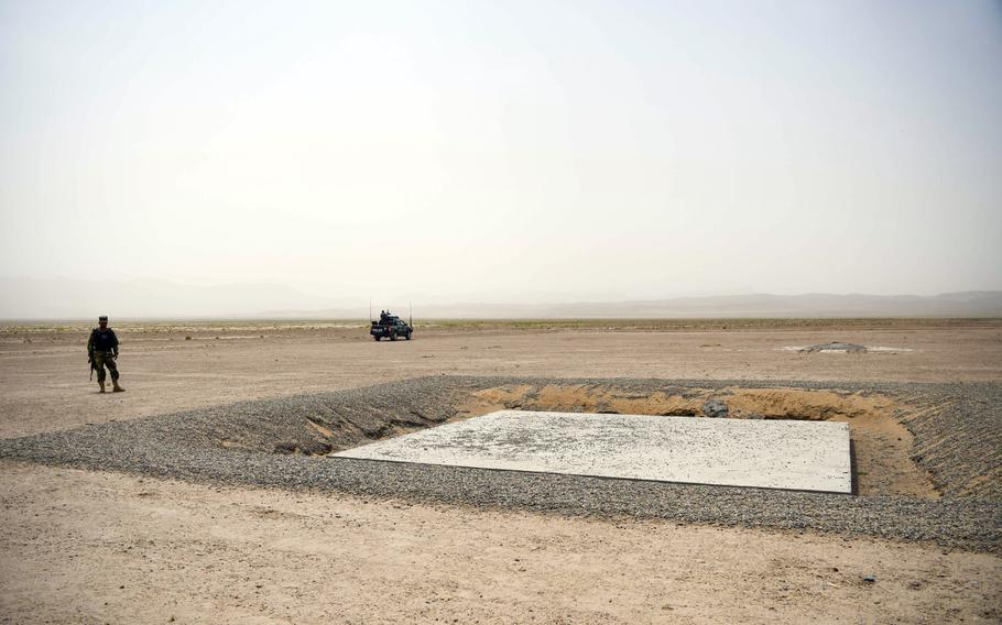 Afghan police guard the construction site of a substation in Herat, part of a $10 billion natural gas pipeline project. The TAPI pipeline, named for the four nations partnering in the project, is a 1,127-mile pipeline transporting natural gas from Turkmenistan through western Afghanistan to energy-hungry Pakistan and India.