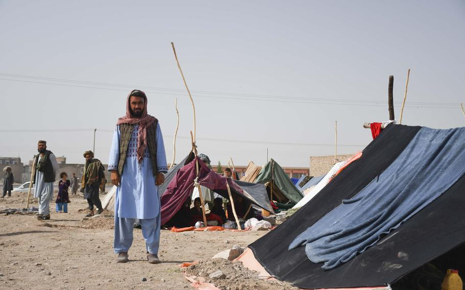 Afghan farmer Allah Dad fled with his five children last month from drought-stricken Baghdis province to camps on the outskirts of Herat.