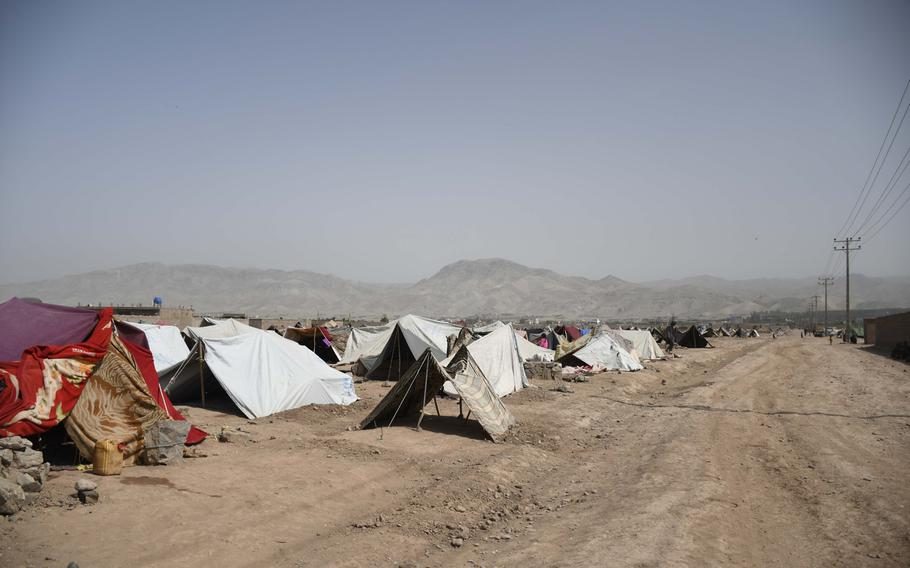 Approximately 20,000 Afghans displaced from their drought-ravaged farms in Ghor, Baghis and Faryab provinces fled to camps on the outskirts of Herat in the last month, where they await national and international aid.
