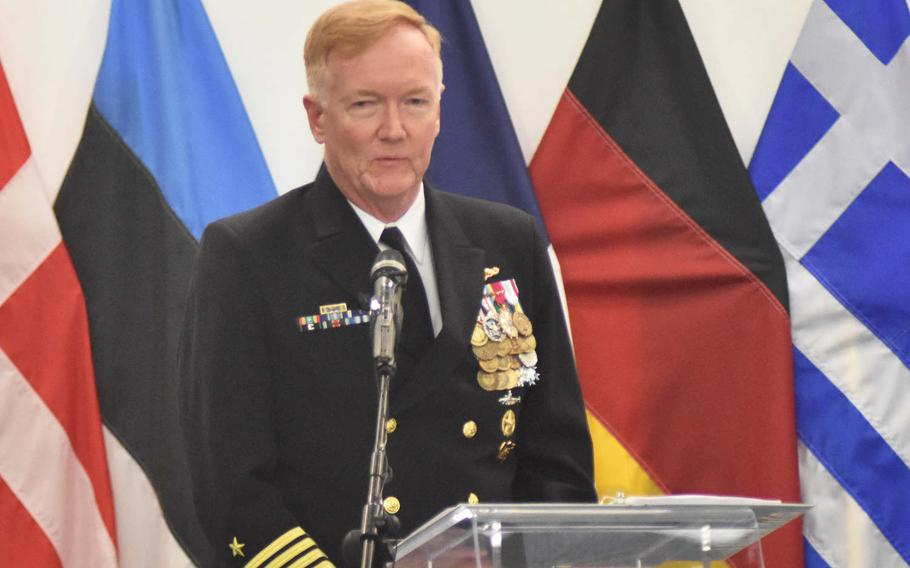 Adm. James Foggo speaks at Allied Joint Force Command Naples, Italy, on Oct. 20, 2018, when he took command of Naval Forces Europe and Africa. Foggo says Russia's growing submarine forces in the theater are a threat that NATO must contend with as it redefines its mission in the post-Cold War era.