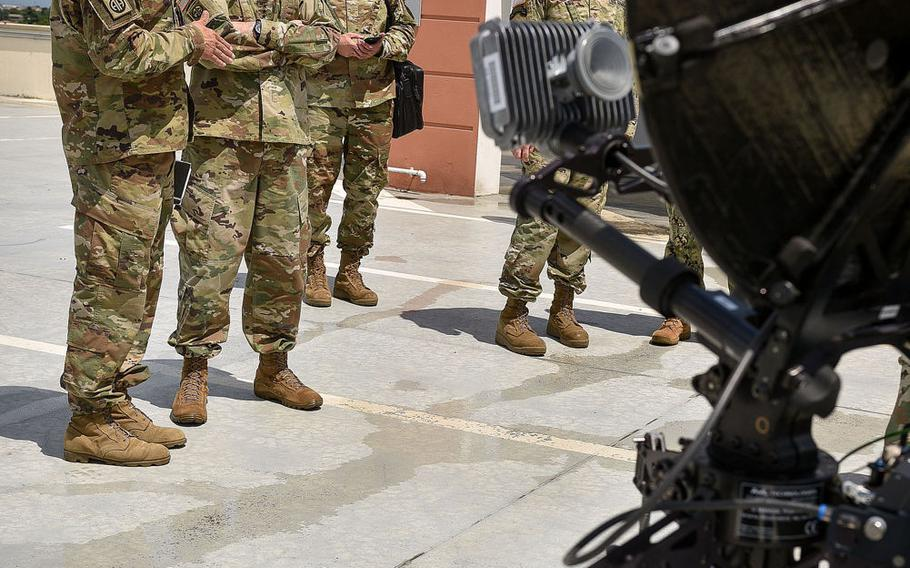 Maj. Timothy Jones, signals officer for the 173rd Airborne Brigade, briefs Gen. Curtis Scaparrotti, head of United States European Command, about the Integrated Tactical Network system on June 22, 2018 in Vicenza, Italy.