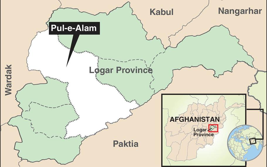 A suicide bomber attacked a U.S. convoy at the gate of an Afghan National Army base on the outskirts of Pul-e-Alam in Logar province on Monday.