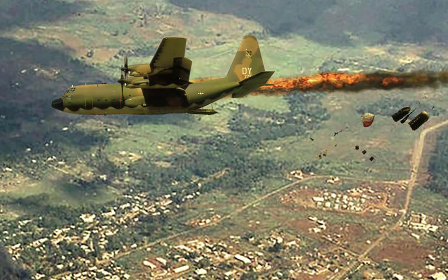 Don Jensen commissioned this painting of the C-130 he piloted going down in flames over An Loc, South Vietnam on April 18, 1972.