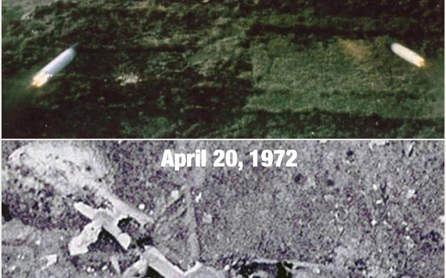 Aerial photographs show what was left of an Air Force C-130 cargo plane that was shot down over An Loc, South Vietnam on April 18, 1972.