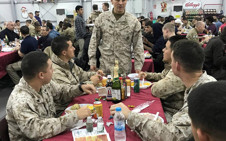 Brig. Gen. Rick A. Uribe, then-deputy commanding general for operations for Combined Joint Task Force-Operation Inherent Resolve, speaks to Marines enjoying a holiday meal at the combined joint operations center in Irbil, Iraq on Dec. 25, 2016. Uribe violated ethics rules while serving in Iraq, a Pentagon watchdog has found.